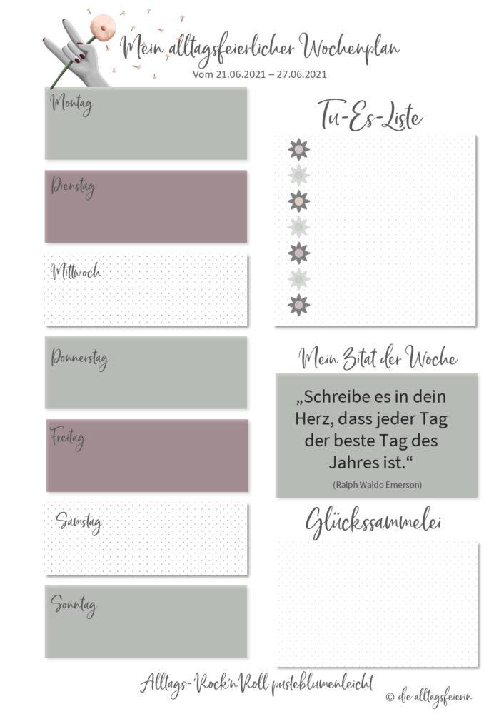 Essensplan No 25-2021, der wöchentliche Speiseplan auf diealltagsfeierin.de mit Freebie zum Ausdrucken