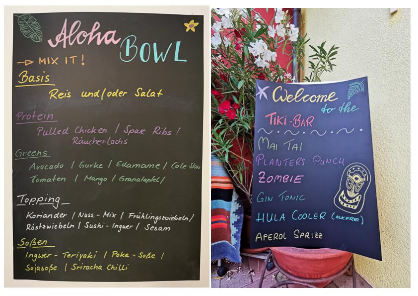 Hawaii-Party, Träumen nach Hawaii mit Bowls und Cocktails
