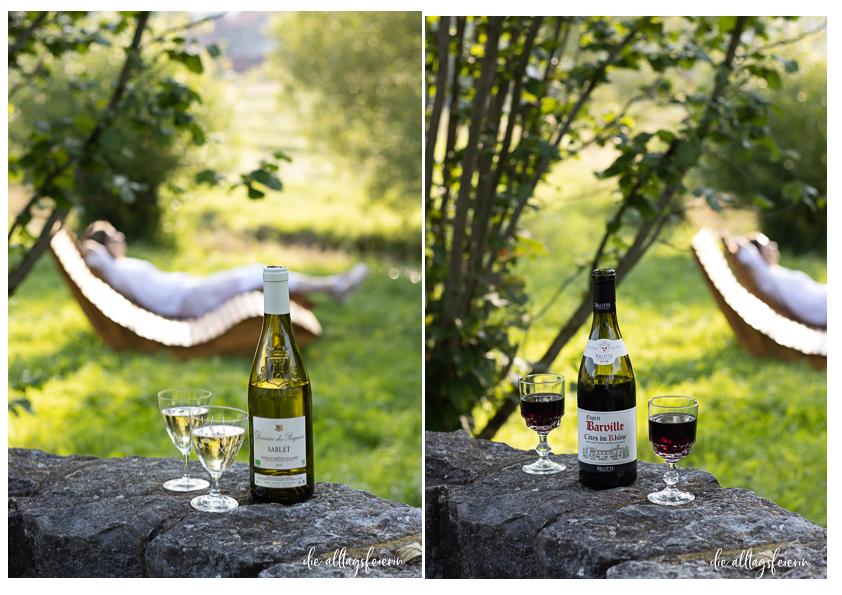 Picknick mit Côtes du Rhône Wein