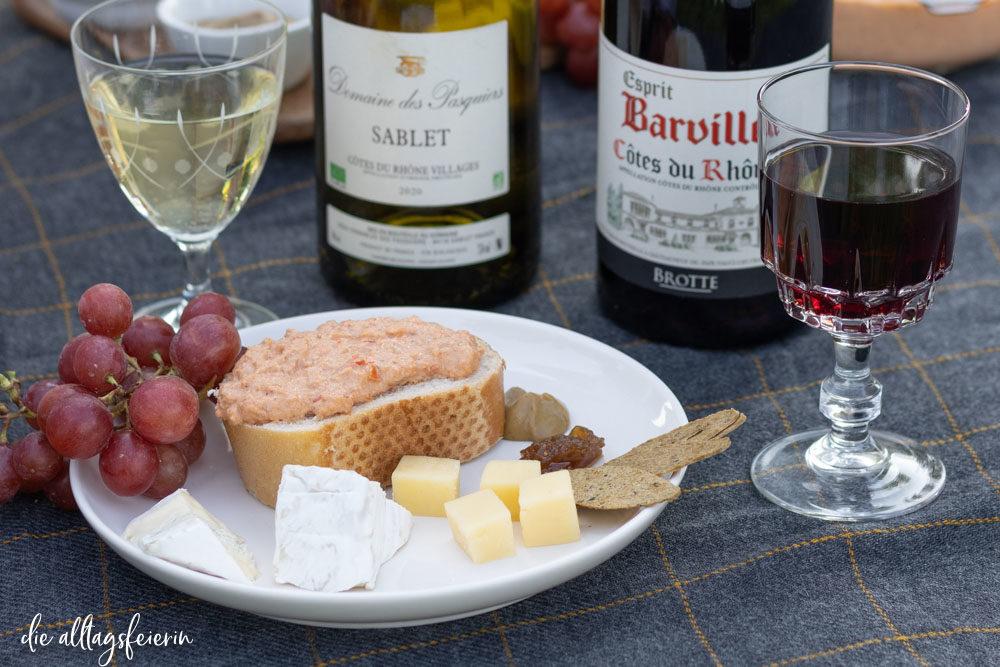 Picknick mit Côtes du Rhône Wein, Sablet Weißwein vorgestellt auf diealltagsfeierin.de, Barville Rotwein